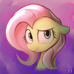 Size: 1100x1100 | Tagged: artist:2387528112, bust, female, floppy ears, fluttershy, looking at you, mare, pegasus, pony, portrait, safe, shy, shy smile, smiling, solo