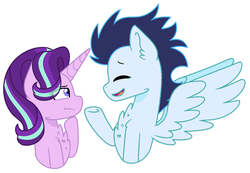Size: 1970x1366 | Tagged: artist:geekcoffee, chest fluff, crack shipping, eye clipping through hair, eyes closed, female, glimmin', height difference, hoof on chin, male, mare, open mouth, pegasus, pony, safe, shipping, simple background, soarin', stallion, starlight glimmer, straight, underhoof, unicorn, white background
