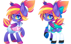 Size: 1200x750 | Tagged: artist:zombie, bat pony, bat pony oc, bow, clothes, cute, fangs, female, hair bow, looking at you, looking back, looking back at you, mare, miniskirt, oc, oc only, oc:stellar sundown, panties, pleated skirt, pony, ponytail, safe, shirt, shoes, simple background, skirt, skirt lift, smiling, socks, striped underwear, thigh highs, transparent background, underwear, upskirt, zettai ryouiki