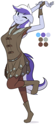 Size: 862x1920   Tagged: safe, artist:furrgroup, oc, oc only, anthro, earth pony, plantigrade anthro, anthro oc, clothes, female, one eye closed, simple background, smiling, solo, white background, wink