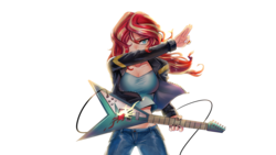 Size: 1920x1080 | Tagged: safe, alternate version, artist:tzc, sunset shimmer, human, equestria girls, badass, breasts, busty sunset shimmer, clothes, electric guitar, female, guitar, guitar pick, hair over one eye, humanized, jacket, leather jacket, midriff, musical instrument, pants, rock (music), simple background, solo, sunset shredder, textless, white background