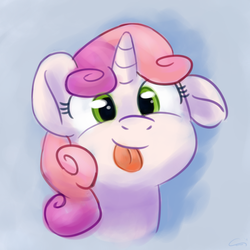 Size: 2480x2480 | Tagged: safe, artist:aemuhn, sweetie belle, pony, :p, cute, diasweetes, female, filly, looking at you, mlem, silly, silly pony, tongue out