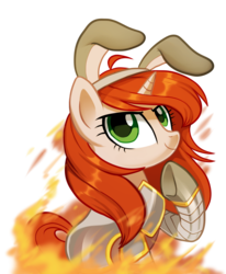 Size: 2733x3310 | Tagged: armor, artist:pepooni, buck legacy, bunny ears, female, fire, green eyes, mare, oc, oc:watch commander elia, orange hair, pony, safe, simple background, solo, transparent background, unicorn