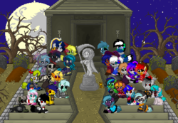 Size: 1528x1056 | Tagged: artist:torpy-ponius, clothes, cosplay, costume, creepy, grass, graveyard, group photo, halloween, holiday, nightmare moon, nightmare moon moon, nightmare night, oc, oc:drew dru, oc:drunknugly, oc:drunk n ugly, oc:flare, oc:hunterreviews, oc:lyra heartstings, oc:midnight mist, oc:mocha fox, oc:sky the galaxy wolf, oc:swift swirl, oc:torpy, pirate, pony, pony town, ponytownslobs, safe, stairs, statue, tombstones, tree, vampire, witch