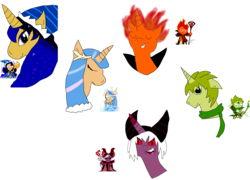 Size: 10349x7459 | Tagged: safe, artist:theinanimatepony, pony, absurd resolution, cookie run, dark enchantress cookie, fire spirit cookie, moonlight cookie, ponified, sea fairy cookie, simple background, transparent background, wind archer cookie