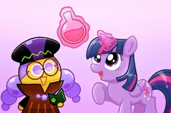 Size: 1280x850 | Tagged: safe, artist:grapegingerale, twilight sparkle, alicorn, pony, alchemist cookie, cookie run, crossover, duo, glowing horn, magic, raised hoof, telekinesis, twilight sparkle (alicorn)