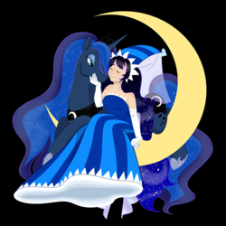 Size: 1280x1280 | Tagged: dead source, safe, artist:marimaribella, princess luna, human, pony, clothes, cookie run, crossover, dress, hennin, moonlight cookie