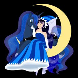 Size: 1280x1280 | Tagged: dead source, safe, artist:marimaribella, princess luna, human, pony, clothes, cookie run, crossover, dress, hennin, moonlight cookie