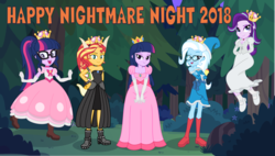Size: 3877x2200 | Tagged: safe, artist:phucknuckl, sci-twi, starlight glimmer, sunset shimmer, trixie, twilight sparkle, equestria girls, 2018, armband, bedroom eyes, booette, boots, boulder, bow, bowser, bowsette, breasts, bush, cleavage, clothes, collar, cosplay, costume, crossover, crown, dress, floating, flower, forest, glasses, gloves, grass, group, group photo, group shot, hairpin, halloween, halloween 2018, halloween costume, hand on hip, hands behind back, hands on thighs, happy, happy nightmare night, hat, headband, high res, holiday, horn, jewelry, kamek, kamekette, king boo, knot, leather boots, legs, levitation, looking at you, looking up, magic, magic wand, necklace, new super mario bros. u, new super mario bros. u deluxe, night, night sky, nightmare night, nightmare night 2018, nightmare night costume, nintendo, numbers, open mouth, outdoors, peachette, ponytail, princess, princess peach, princess twipeach, raised eyebrow, regalia, rock, royalty, self paradox, self ponidox, shadow, shell, shoes, skirt, sky, smiling, smug, socks, standing, standing on one leg, stars, stone, super crown, super mario bros., tail, teeth, telekinesis, text, toadette, tree, wall of tags, wand, witch, witch hat, wizard, wizard hat, wristband, xk-class end-of-the-world scenario