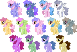Size: 5200x3540 | Tagged: safe, artist:silvervectors, berry frost, blueberry punch, candy floss (character), dizzy twister, dust devil, elphaba trot, juicy fruit, orange swirl, peppermint crunch, q. t. prism, rainbowshine, slipstream, sugar twist, wing wishes, earth pony, pegasus, pony, .ai available, absurd resolution, background pony, blank flank, female, forest spirit (character), mare, palette swap, raised hoof, recolor, simple background, spread wings, transparent background, vector, wings