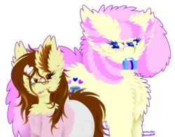Size: 1024x802   Tagged: safe, artist:vanillaswirl6, oc, oc only, oc:historic shine, oc:vanilla swirl, pony, wolf pony, bow, clothes, ear fluff, ear piercing, earring, fluffy, freckles, glasses, hair bow, jewelry, mouth hold, mug, pants, pencil, piercing, redraw, signature, simple background, sweater, transparent background