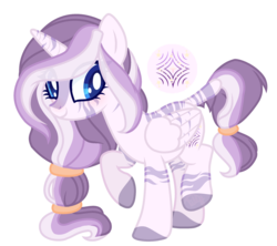 Size: 2708x2401 | Tagged: safe, artist:tillysimagination, oc, oc only, oc:zoya, alicorn, hybrid, zony, alicorn oc, base used, female, interspecies offspring, magical lesbian spawn, mare, offspring, parent:twilight sparkle, parent:zecora, parents:twicora, simple background, solo, transparent background