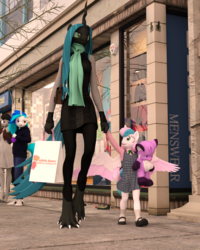 Size: 1600x2000 | Tagged: safe, artist:tahublade7, dj pon-3, octavia melody, princess flurry heart, queen chrysalis, vinyl scratch, anthro, digitigrade anthro, plantigrade anthro, 3d, alternate universe, auntie chrissy, clothes, daz studio, dress, hoodie, older, older flurry heart, pants, plushie, scarf, teddy bear