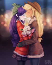 Size: 1200x1500 | Tagged: applejack, artist:tcn1205, bouquet, clothes, coat, cute, daaaaaaaaaaaw, equestria girls, eyes closed, female, flower, hug, jackabetes, kissing, kiss on forehead, lesbian, love, raribetes, rarijack, rarity, safe, shipping