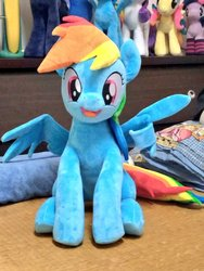 Size: 768x1024 | Tagged: safe, artist:nekokevin, rainbow dash, pegasus, pony, cute, dashabetes, female, irl, looking at you, mare, open mouth, photo, plushie, sitting, smiling, solo, spread wings, underhoof, wings