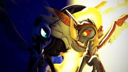 Size: 3840x2160 | Tagged: safe, artist:whiteskyline, daybreaker, nightmare moon, pony, 3d