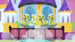 Size: 1440x810   Tagged: safe, screencap, earth pony, pony, unicorn, a canterlot wedding, armor, helmet, hoof shoes, male, quartet, royal guard, royal guard armor, smoke, spear, stallion, unicorn royal guard, weapon, white mane