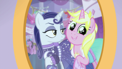 Size: 1280x720   Tagged: safe, screencap, lily love, moonlight raven, sunshine smiles, pony, unicorn, canterlot boutique, duo, female, happy, mare, mirror, ponies standing next to each other, sisters, smiling