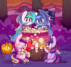 Size: 2356x2221 | Tagged: safe, artist:dsp2003, princess cadance, princess celestia, princess luna, twilight sparkle, alicorn, firefly (insect), pony, :3, apple, bipedal, blushing, cauldron, chibi, clothes, cloud, costume, crown, cup, cute, drinking, dsp2003 is trying to murder us, eyes closed, eyeshadow, female, food, forest, halloween, halloween 2018, hat, holiday, hoof hold, hoof shoes, horn, jack-o-lantern, jewelry, looking at something, makeup, mare, night, open mouth, poofy shoulders, pumpkin, regalia, s1 luna, signature, sitting, smiling, standing, stars, teacup, tongue out, tree, tree stump, twilight sparkle (alicorn), wings, witch hat