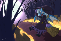 Size: 1280x869 | Tagged: safe, artist:jeglegator, trixie, alicorn, bat, bat pony, bat pony alicorn, unicorn, alicornified, bat ponified, broom, clothes, dress, fangs, female, flying, flying broomstick, grin, halloween, holiday, jack-o-lantern, looking at you, moon, night, pumpkin, race swap, smiling, solo, trixiebat, trixiecorn, witch