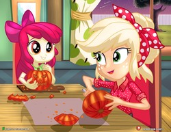 Size: 1500x1159 | Tagged: safe, artist:dieart77, apple bloom, applejack, equestria girls, equestria girls series, clothes, cute, female, freckles, halloween, happy, holiday, jack-o-lantern, knife, pumpkin, pumpkin carving, shirt, shooting star, sisters, smiling, tree