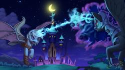 Size: 2500x1407 | Tagged: safe, artist:1jaz, nightmare moon, oc, oc:night mist, alicorn, bat pony, bat pony alicorn, armor, bat pony oc, blast, castle of the royal pony sisters, duo, female, fight, flying, glowing horn, magic, magic blast, mare, night, scenery