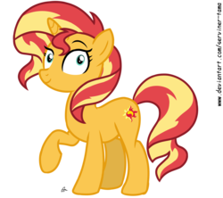 Size: 3244x2878 | Tagged: artist:serviner-tama, cutie mark, equestria girls, female, mare, mirror magic, pony, raised hoof, safe, simple background, smiling, solo, spoiler:eqg specials, sunset shimmer, transparent background, unicorn, vector