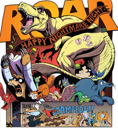 Size: 1143x1238 | Tagged: safe, artist:andypriceart, idw, fluttershy, gallus, harry, ocellus, silverstream, smolder, bird, changedling, changeling, chicken, classical hippogriff, dinosaur, dragon, duck, fox, griffon, hippogriff, mallard, rabbit, sea lion, seal, snake, squirrel, spoiler:comic, spoiler:comic71, animal, comic, cropped, dinosaurified, disguise, disguised changeling, dragoness, female, fluttersaurus rex, halloween, holiday, jack-o-lantern, jurassic park, nightmare night, pumpkin, rexy, stampede, wat