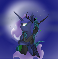 Size: 2440x2504 | Tagged: artist:groomlake, changeling, changeling queen, chrysaluna, colored, crown, female, hug, jewelry, lesbian, love, moon, princess luna, queen chrysalis, regalia, safe, shipping