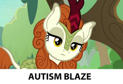 Size: 1280x876   Tagged: safe, edit, edited screencap, screencap, autumn blaze, kirin, sounds of silence, spoiler:s08, autism, background pony strikes again, downvote bait, female, frown, head tilt, lidded eyes, op is a duck, op is trying to start shit