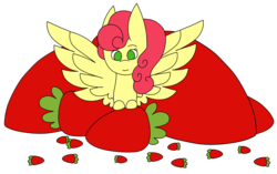 Size: 2740x1718 | Tagged: safe, artist:icey-wicey-1517, artist:midnightamber, color edit, edit, strawberry sunrise, pegasus, pony, collaboration, colored, cute, female, food, mare, simple background, solo, strawberry, strawwberry sunrise, transparent background