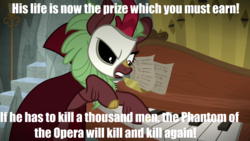 Size: 1280x720   Tagged: safe, edit, edited screencap, screencap, cinder glow, summer flare, kirin, sounds of silence, cape, clothes, cloven hooves, female, image macro, lyrics, mask, meme, musical instrument, organ, phantom of the opera, quote, song reference, stairs, text
