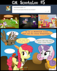 Size: 4800x6000 | Tagged: safe, artist:gm-scoots, apple bloom, scootaloo, sweetie belle, oc, oc:gold rush, oc:phantom gentle, earth pony, pegasus, pony, unicorn, comic:bleeding hearts, absurd resolution, allpet, bard, bow (weapon), chandelier, cutie mark crusaders, dead, dungeons and dragons, fantasy class, female, knife, mace, male, mare, pen and paper rpg, ranger, rapier, rogue, rpg, scootaloo will show us games to play, stallion, sword, table, tumblr, weapon