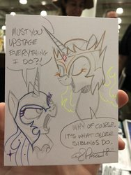 Size: 768x1024 | Tagged: safe, artist:andypriceart, daybreaker, nightmare moon, alicorn, pony, andy you magnificent bastard, dialogue, duo, female, mare, sisters, sketch, traditional art