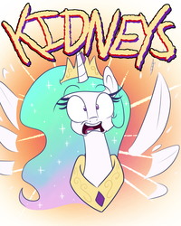 Size: 800x1000 | Tagged: safe, artist:heir-of-rick, princess celestia, alicorn, pony, bust, context is for the weak, doctor who, female, flailing, kidneys, looking at you, mare, panic, solo, the time of the doctor, twelfth doctor, wat, wide eyes