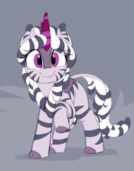 Size: 1039x1322 | Tagged: safe, artist:shinodage, oc, oc only, oc:zala, hybrid, kirin, zebra, zebra kirin, sounds of silence, cloven hooves, cute, female, kirin-ified, ocbetes, simple background, smiling, solo, species swap, stripes
