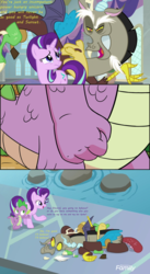 Size: 1386x2538 | Tagged: safe, artist:dashiesparkle edit, artist:pony-berserker edits, edit, edited screencap, hundreds of users filter this tag, screencap, discord, spike, starlight glimmer, draconequus, dragon, pony, unicorn, a matter of principals, arthur's fist, comic, dialogue, female, male, mare, shipping, sparlight, spike's fist, straight, text