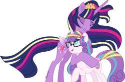 Size: 800x527 | Tagged: safe, artist:shiiazu, princess flurry heart, twilight sparkle, alicorn, pony, aunt and niece, base used, best aunt ever, colored pupils, colored wings, colored wingtips, crown, cute, cutie mark, digital art, duo, duo female, ethereal mane, female, flurrybetes, glasses, gradient mane, gradient wings, jewelry, mare, meganekko, nerd, nerdy heart, older, older flurry heart, older twilight, rainbow power, rainbow power-ified, regalia, signature, simple background, sparkles, transparent background, twiabetes, twilight sparkle (alicorn), ultimate twilight, vector