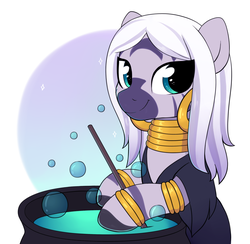 Size: 2411x2354 | Tagged: alternate hairstyle, alternate version, artist:moozua, bubble, cauldron, clothes, costume, cute, female, looking at you, nightmare night, safe, solo, zebra, zecora, zecorable