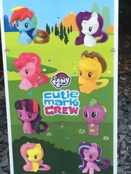 Size: 4032x3024 | Tagged: safe, applejack, fluttershy, pinkie pie, rainbow dash, rarity, spike, starlight glimmer, twilight sparkle, alicorn, dragon, earth pony, pegasus, pony, unicorn, chibi, cowboy hat, cutie mark, cutie mark crew, dragons don't get cutie marks, female, happy meal, hat, male, mane seven, mane six, mare, mcdonald's, mcdonald's happy meal toys, one of these things is not like the others, photo, toy, twilight sparkle (alicorn)