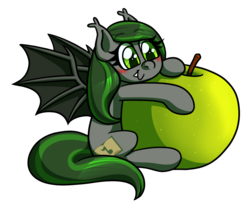 Size: 1280x1053 | Tagged: safe, artist:alittleofsomething, oc, oc only, oc:emerald notes, bat pony, pony, apple, blushing, food, simple background, solo, tiny, transparent background