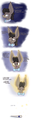 Size: 1280x4800 | Tagged: artist:heir-of-rick, bowtie, bust, comic, dialogue, doctor whooves, ear fluff, earth pony, eleventh doctor, eyes closed, hidden cane, impossibly large ears, looking at you, male, pony, regeneration, safe, smiling, solo, stallion, time turner
