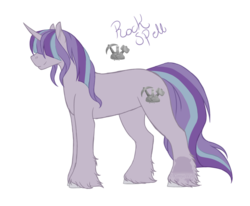 Size: 1024x843 | Tagged: safe, artist:kimyowolf, oc, oc:rockspell, pony, unicorn, magical lesbian spawn, male, offspring, parent:maud pie, parent:starlight glimmer, parents:starmaud, simple background, solo, stallion, transparent background