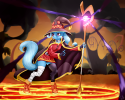 Size: 1875x1500   Tagged: safe, artist:samum41, trixie, anthro, unguligrade anthro, unicorn, belt, boots, cloak, clothes, dress, female, gloves, glow, hat, jewelry, konosuba, magic, mare, megumin, necklace, shoes, skirt, smiling, solo, staff, this will end in explosions, upskirt, wizard