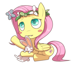 Size: 1280x1343   Tagged: safe, artist:figgot, angel bunny, fluttershy, butterfly, pegasus, pony, rabbit, blush sticker, blushing, cute, daaaaaaaaaaaw, female, floral head wreath, flower, flower in hair, folded wings, looking at something, looking up, mare, prone, reaching, shyabetes, simple background, smiling, transparent background, wings