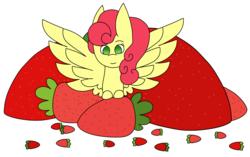 Size: 2740x1718 | Tagged: safe, artist:midnightamber, strawberry sunrise, pegasus, pony, cute, female, food, mare, simple background, solo, strawberry, strawwberry sunrise, white background