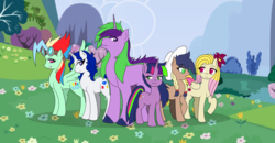 Size: 3024x1576 | Tagged: safe, artist:cmacx, oc, oc only, oc:apple danish, oc:crystal pearl, oc:orchid, oc:rainbow storm, oc:starlight sparkle, oc:twila shine sparkle, dracony, earth pony, hybrid, pegasus, pony, unicorn, adopted offspring, claw hooves, colored wings, colored wingtips, female, flower, flower in hair, goggles, hat, interspecies offspring, lidded eyes, male, mare, next generation, offspring, parent:applejack, parent:big macintosh, parent:fancypants, parent:fluttershy, parent:oc:hot rod, parent:rainbow dash, parent:rarity, parent:soarin', parent:spike, parent:twilight sparkle, parents:canon x oc, parents:fluttermac, parents:raripants, parents:soarinjack, parents:twispike, raised hoof, stallion