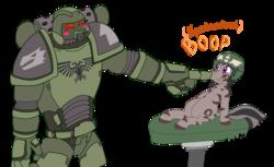Size: 4601x2821 | Tagged: safe, artist:ghouleh, oc, oc only, oc:gypsy, zebra, adeptus astartes, astartes, boop, crossover, happy, imperial guard, salamanders, silly, simple background, space marine, transparent background, war hammer, warhammer (game), warhammer 40k, weapon, zebra oc