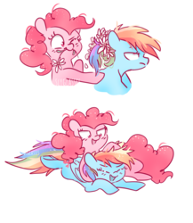 Size: 886x1021 | Tagged: safe, artist:pinkablue, pinkie pie, rainbow dash, earth pony, pegasus, pony, female, flower, flower in hair, flower in mouth, laughing, lesbian, mare, mouth hold, noogie, pinkiedash, ponytail, prone, shipping, simple background, white background