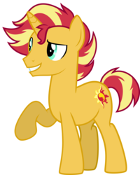 Size: 1589x1991 | Tagged: artist:whalepornoz, grin, male, my little colt, pony, raised hoof, rule 63, safe, simple background, smiling, solo, stallion, sunset glare, sunset shimmer, transparent background, unicorn, vector